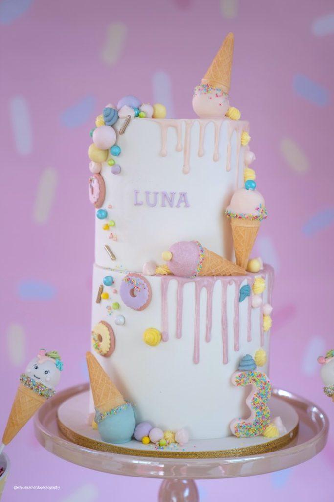Ice Cream Themed Birthday Cake from a Pastel Ice Cream Soiree on Kara's Party Ideas   KarasPartyIdeas.com (35)