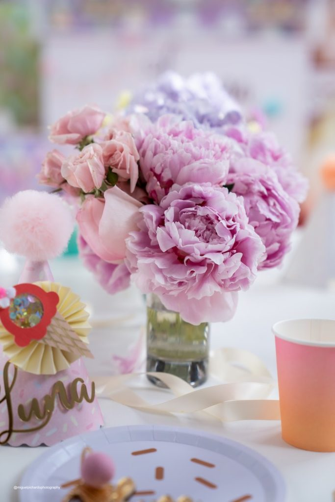 Pastel Floral Table Centerpiece from a Pastel Ice Cream Soiree on Kara's Party Ideas   KarasPartyIdeas.com (15)