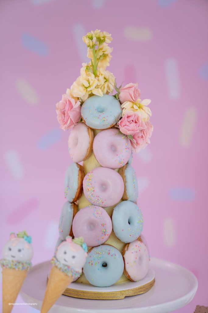 Donut tower from a Pastel Ice Cream Soiree on Kara's Party Ideas   KarasPartyIdeas.com (34)