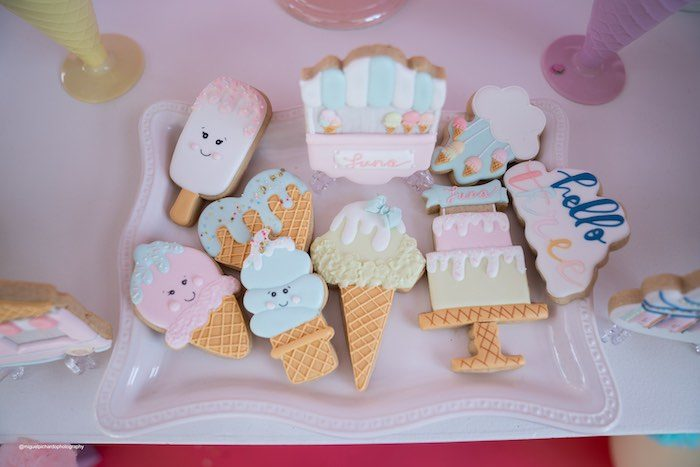 Ice Cream Themed Cookies from a Pastel Ice Cream Soiree on Kara's Party Ideas   KarasPartyIdeas.com (33)