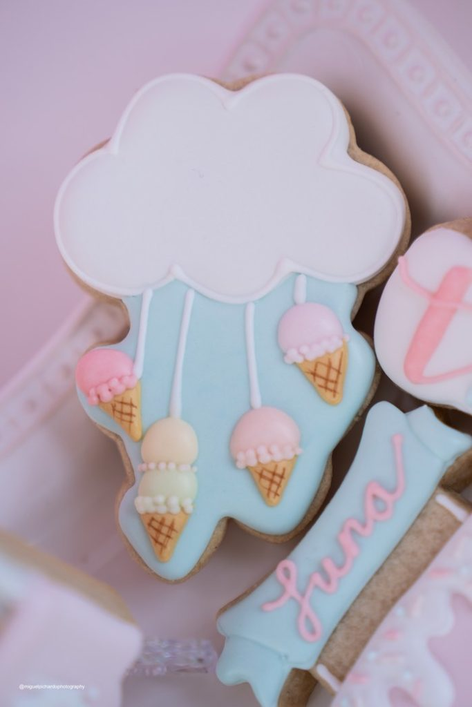 Ice Cream Cone-inspired Cookie from a Pastel Ice Cream Soiree on Kara's Party Ideas   KarasPartyIdeas.com (30)