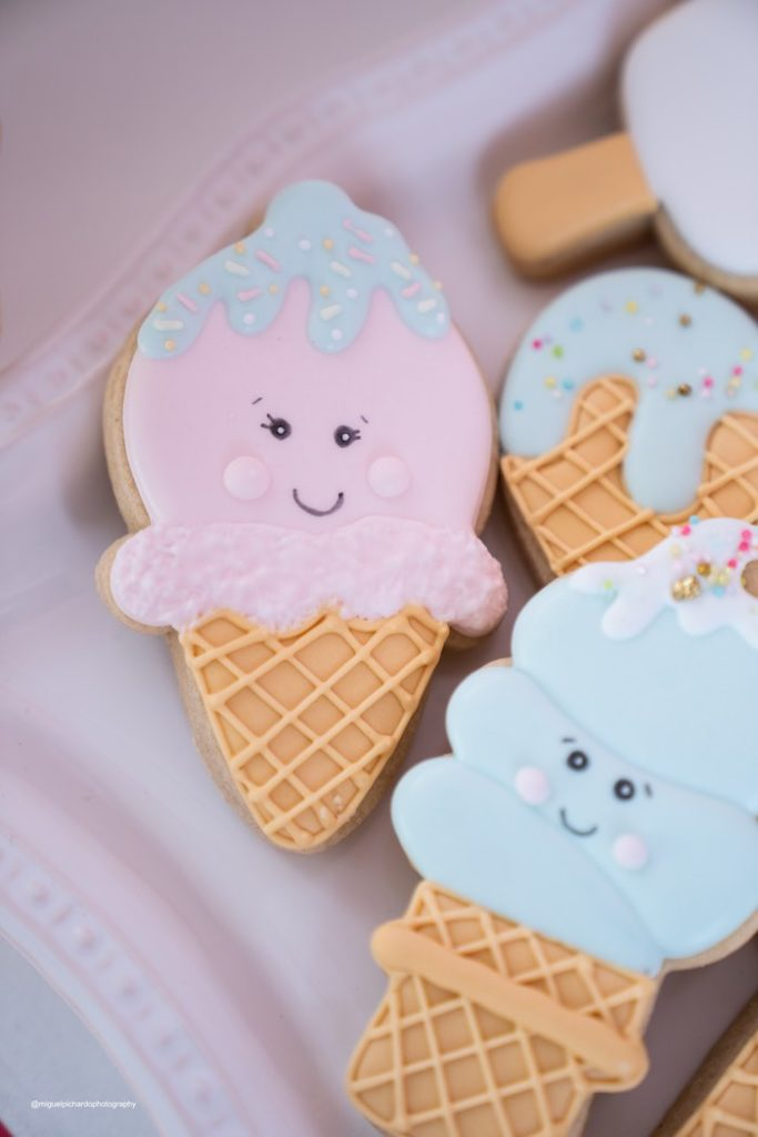 Ice Cream Cone-inspired Cookies from a Pastel Ice Cream Soiree on Kara's Party Ideas   KarasPartyIdeas.com (29)