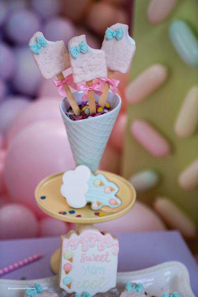 Ice Cream Rice Krispie Treat Pops from a Pastel Ice Cream Soiree on Kara's Party Ideas   KarasPartyIdeas.com (27)
