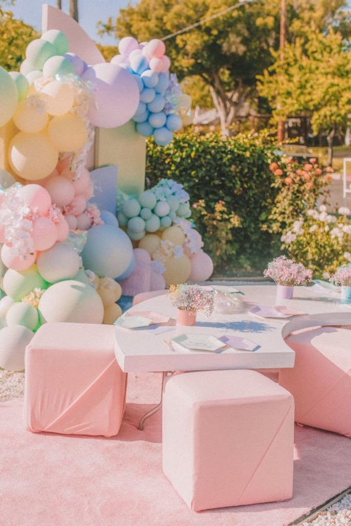 "Kid Table from a Pastel Rainbow ""Threenage Dream"" 3rd Birthday Party on Kara's Party Ideas 