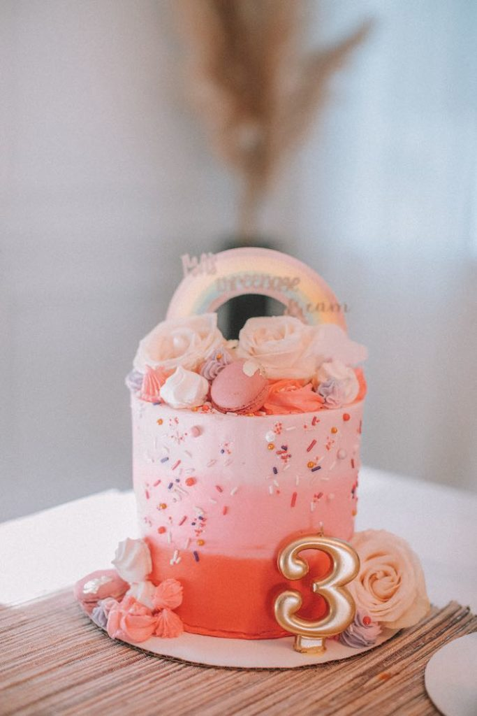 "Pink Ombre Smash Cake from a Pastel Rainbow ""Threenage Dream"" 3rd Birthday Party on Kara's Party Ideas 