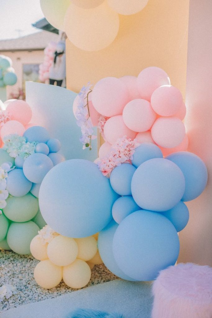 "Rainbow Balloon Install from a Pastel Rainbow ""Threenage Dream"" 3rd Birthday Party on Kara's Party Ideas 