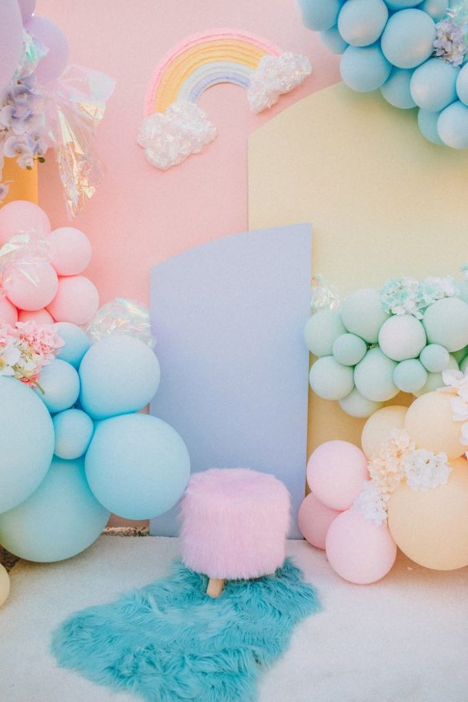 "Rainbow Backdrop + Photo Op from a Pastel Rainbow ""Threenage Dream"" 3rd Birthday Party on Kara's Party Ideas 