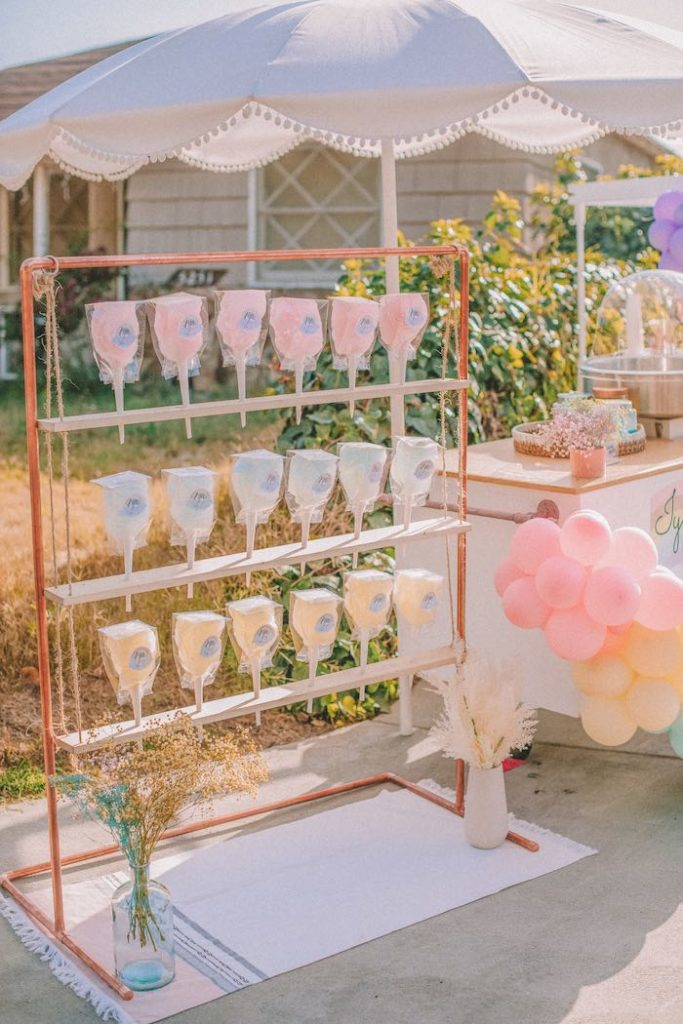 "Modern Cotton Candy Serving Shelf from a Pastel Rainbow ""Threenage Dream"" 3rd Birthday Party on Kara's Party Ideas 