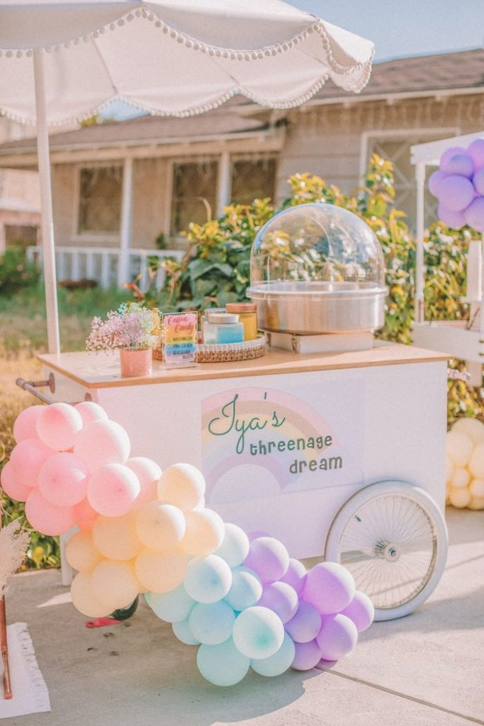 "Cotton Candy Cart from a Pastel Rainbow ""Threenage Dream"" 3rd Birthday Party on Kara's Party Ideas 