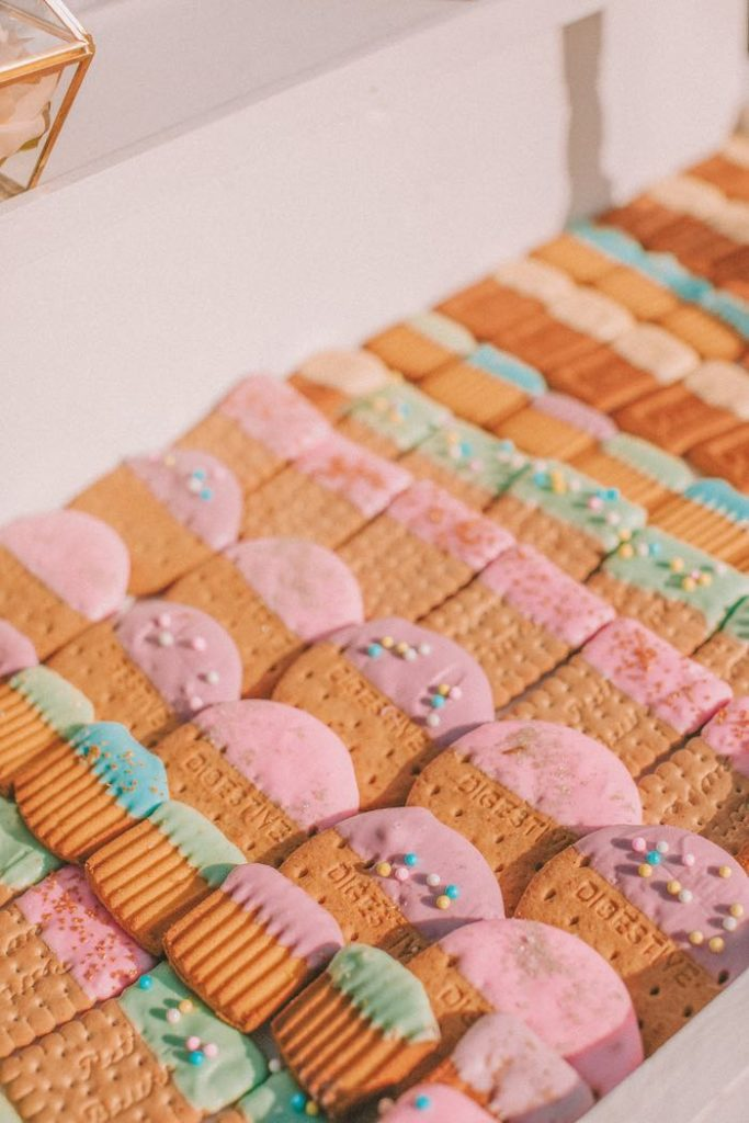 "Dipped Cookies from a Pastel Rainbow ""Threenage Dream"" 3rd Birthday Party on Kara's Party Ideas 