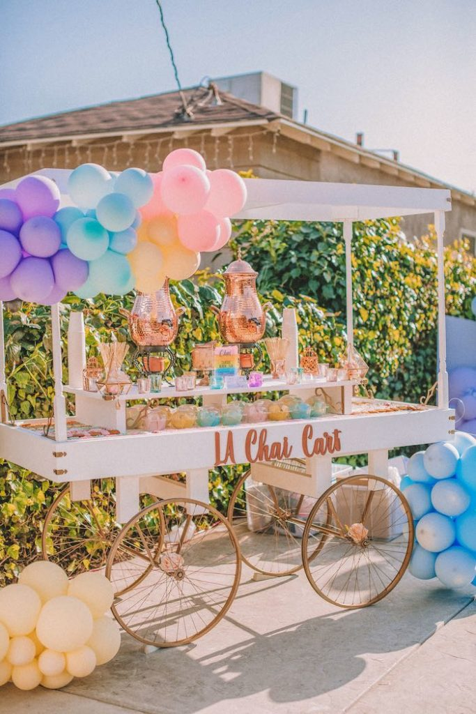 "Chai Cart from a Pastel Rainbow ""Threenage Dream"" 3rd Birthday Party on Kara's Party Ideas 