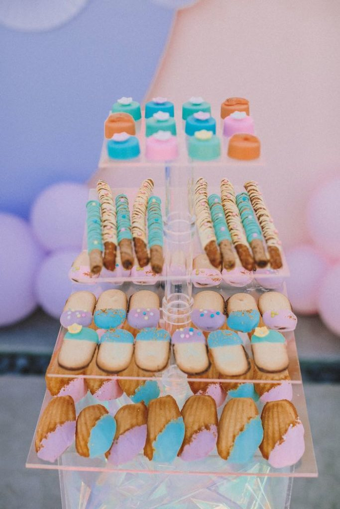 "Dessert Tray from a Pastel Rainbow ""Threenage Dream"" 3rd Birthday Party on Kara's Party Ideas 