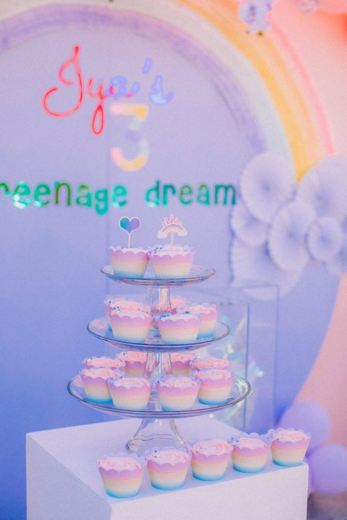 "Rainbow Cupcakes from a Pastel Rainbow ""Threenage Dream"" 3rd Birthday Party on Kara's Party Ideas 