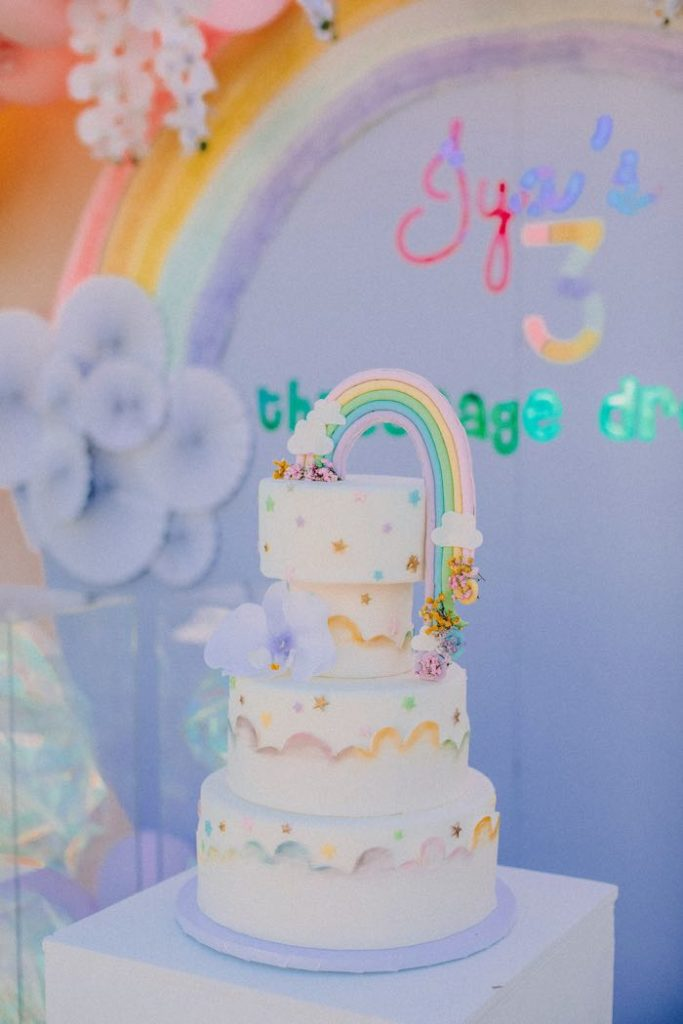 "Rainbow Cake from a Pastel Rainbow ""Threenage Dream"" 3rd Birthday Party on Kara's Party Ideas 