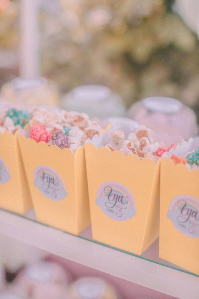 "Rainbow Popcorn from a Pastel Rainbow ""Threenage Dream"" 3rd Birthday Party on Kara's Party Ideas 