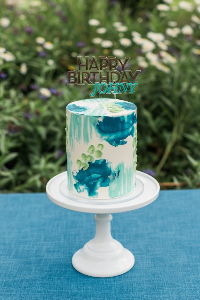 Ombre Splatter Cake from a Post-Pandemic Holiday Round-Up Backyard BBQ on Kara's Party Ideas | KarasPartyIdeas.com (25)