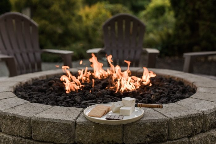 Fire Pit with S'mores from a Post-Pandemic Holiday Round-Up Backyard BBQ on Kara's Party Ideas | KarasPartyIdeas.com (41)