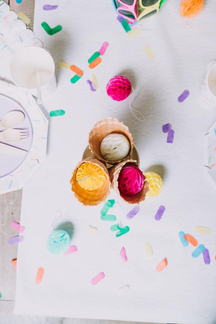 Ice Cream-inspired Kid Table Decor from a Rainbow Ice Cream Party on Kara's Party Ideas | KarasPartyIdeas.com (31)