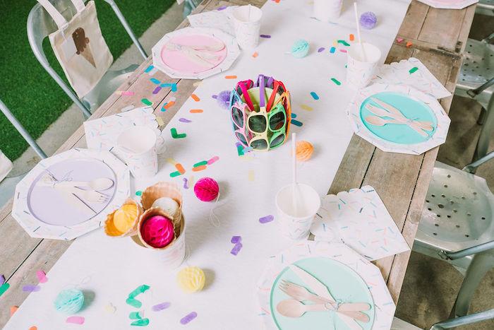 Ice Cream-inspired Table Settings from a Rainbow Ice Cream Party on Kara's Party Ideas | KarasPartyIdeas.com (30)