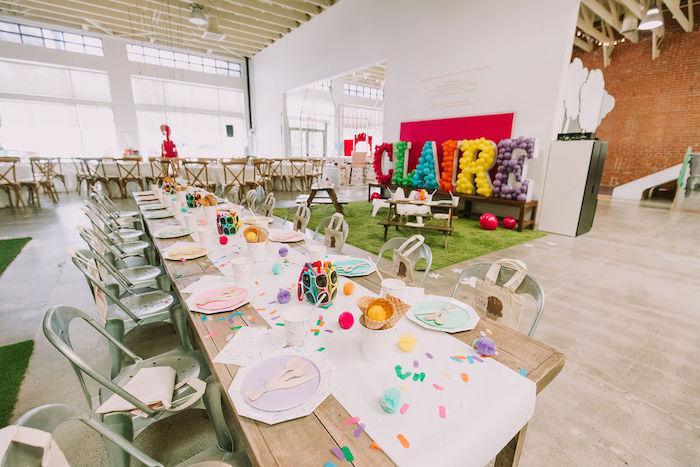Ice Cream-inspired Kid Table from a Rainbow Ice Cream Party on Kara's Party Ideas | KarasPartyIdeas.com (29)