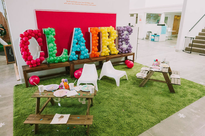 Ice Cream-inspired Picnic Tables from a Rainbow Ice Cream Party on Kara's Party Ideas | KarasPartyIdeas.com (27)
