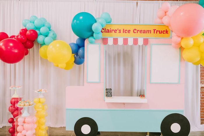 Ice Cream Truck Standee + Photo Booth from a Rainbow Ice Cream Party on Kara's Party Ideas | KarasPartyIdeas.com (23)