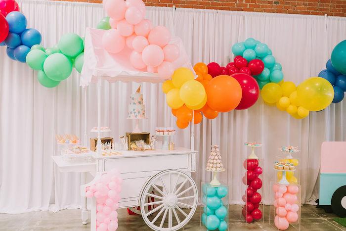 Rainbow Ice Cream Themed Dessert Cart from a Rainbow Ice Cream Party on Kara's Party Ideas | KarasPartyIdeas.com (22)