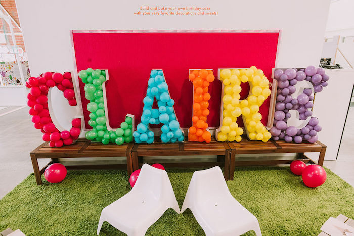 Balloon Mosaic Name Sign from a Rainbow Ice Cream Party on Kara's Party Ideas | KarasPartyIdeas.com (19)