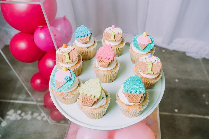 Ice Cream Themed Cupcakes from a Rainbow Ice Cream Party on Kara's Party Ideas | KarasPartyIdeas.com (14)