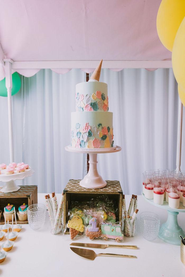 Ice Cream Themed Cake Table + Dessert Cart from a Rainbow Ice Cream Party on Kara's Party Ideas | KarasPartyIdeas.com (13)