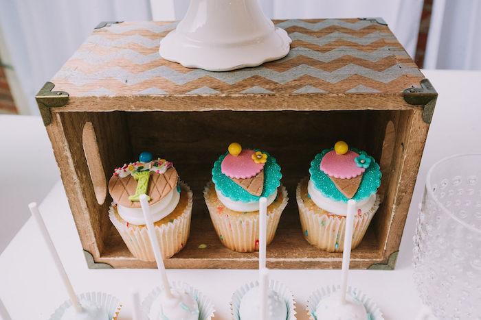 Ice Cream Cone Cupcakes from a Rainbow Ice Cream Party on Kara's Party Ideas | KarasPartyIdeas.com (11)