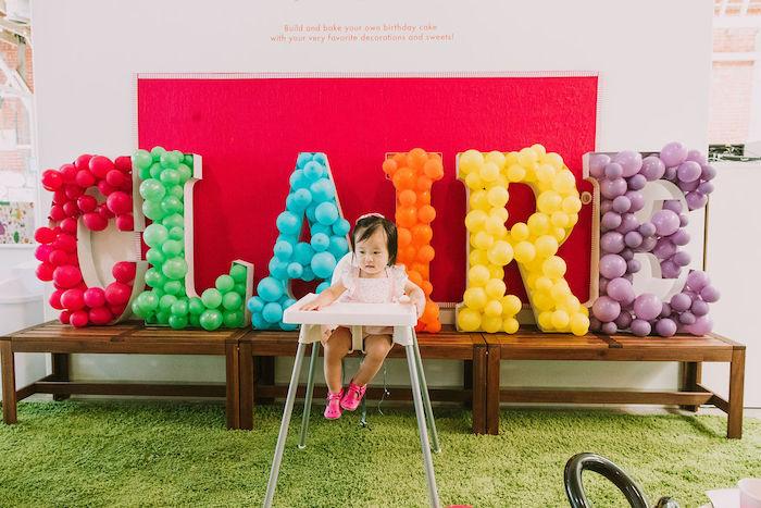 Balloon Mosaic Name Sign from a Rainbow Ice Cream Party on Kara's Party Ideas | KarasPartyIdeas.com (40)