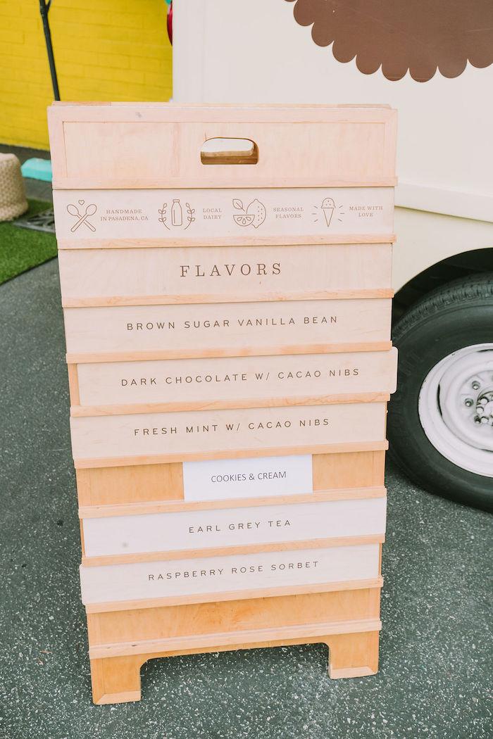 Ice Cream Flavor Easel from a Rainbow Ice Cream Party on Kara's Party Ideas | KarasPartyIdeas.com (38)