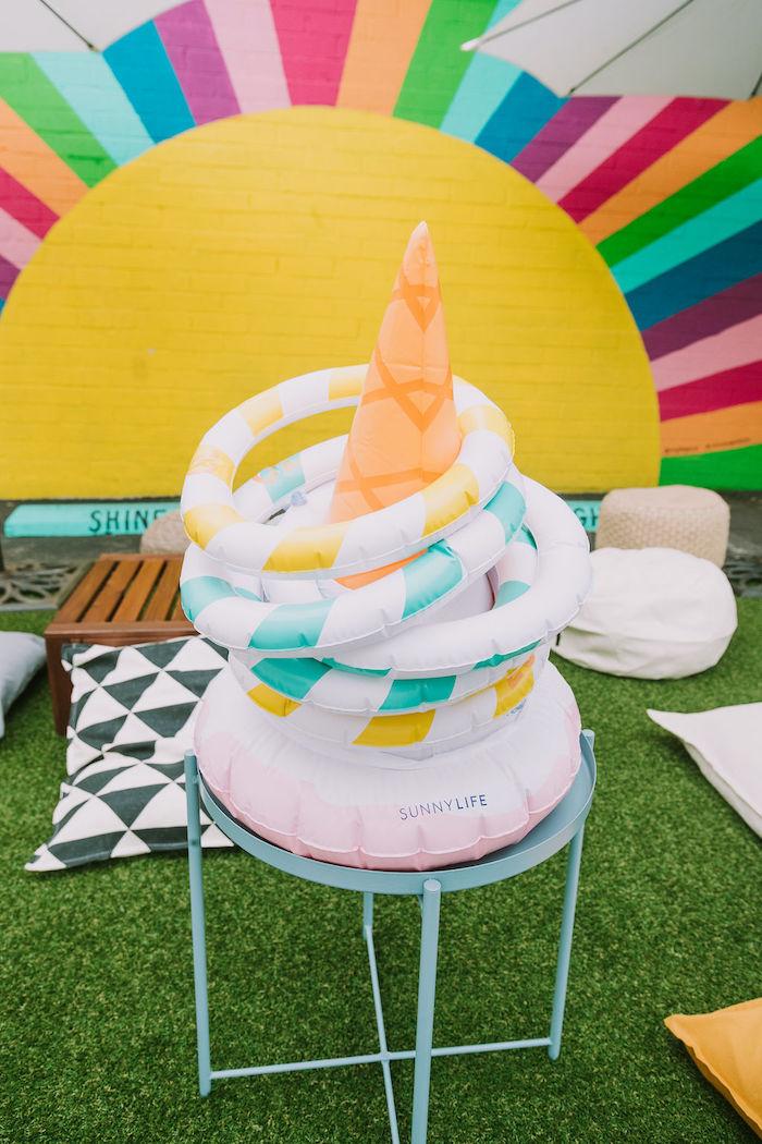Ice Cream Cone Hoop Toss from a Rainbow Ice Cream Party on Kara's Party Ideas | KarasPartyIdeas.com (35)
