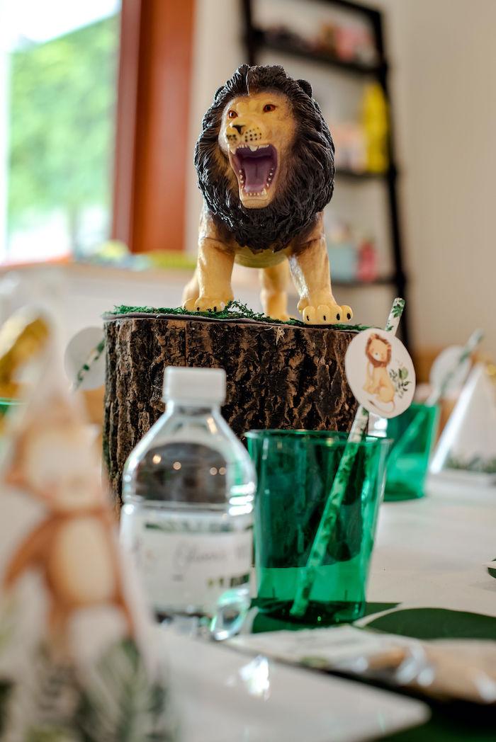 Tree Stump Lion Table Centerpiece from a Wild One Safari Birthday Party on Kara's Party Ideas | KarasPartyIdeas.com (25)