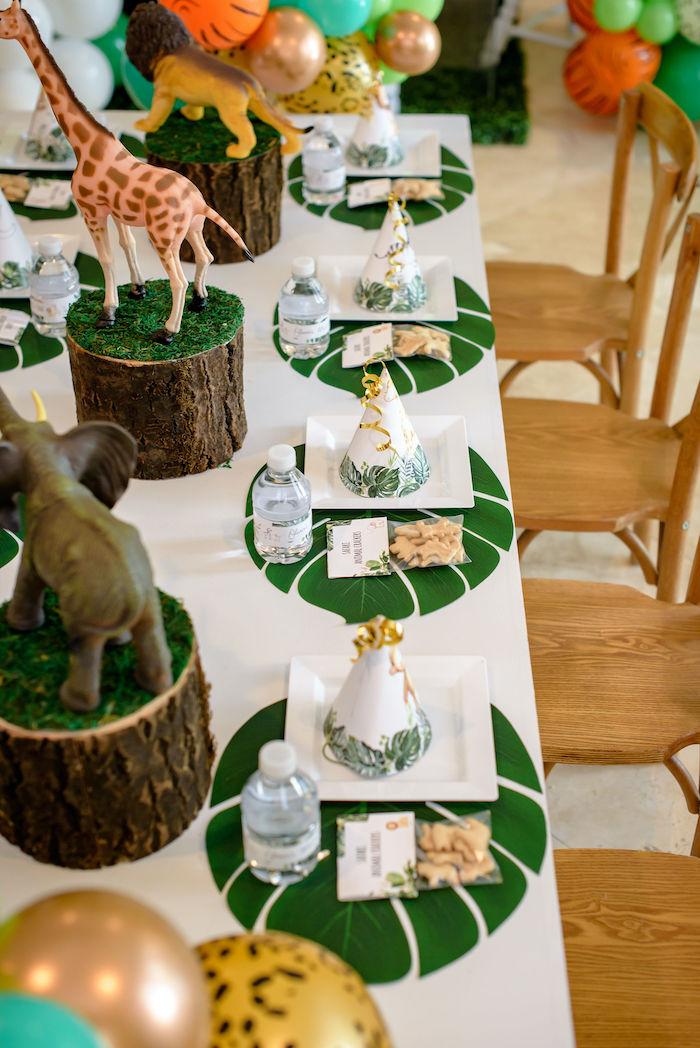 Safari Themed Kid Table Settings from a Wild One Safari Birthday Party on Kara's Party Ideas | KarasPartyIdeas.com (23)