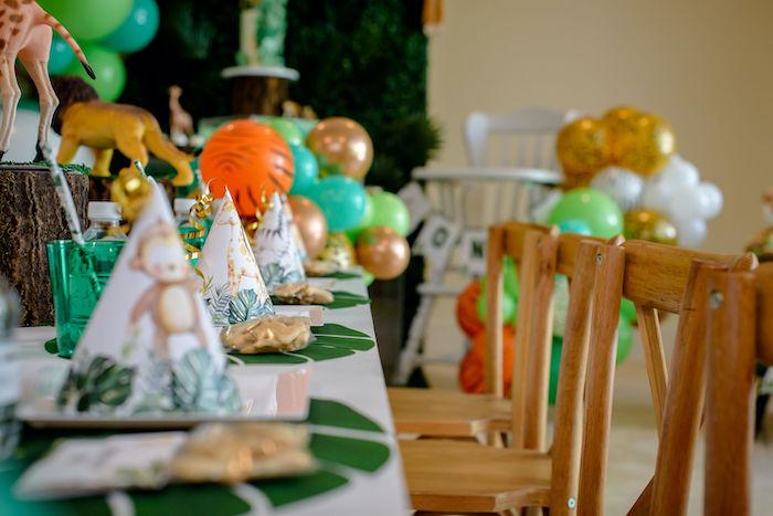 Safari Themed Kid Table from a Wild One Safari Birthday Party on Kara's Party Ideas | KarasPartyIdeas.com (22)
