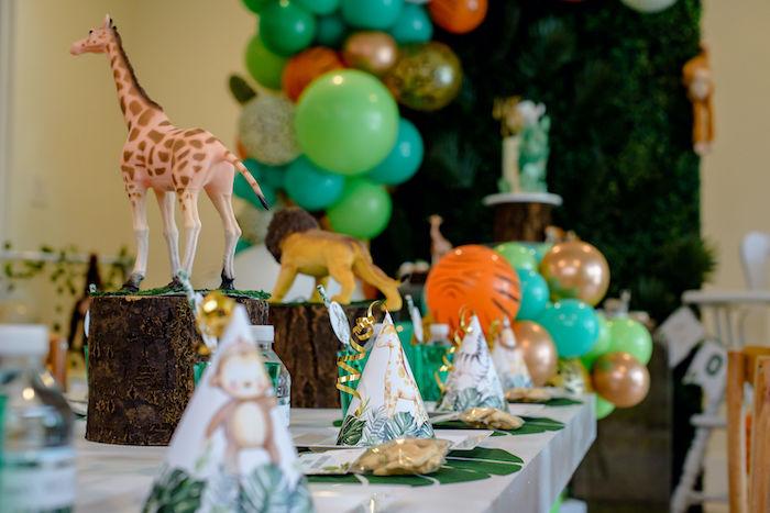 Safari Themed Kid Table from a Wild One Safari Birthday Party on Kara's Party Ideas | KarasPartyIdeas.com (21)