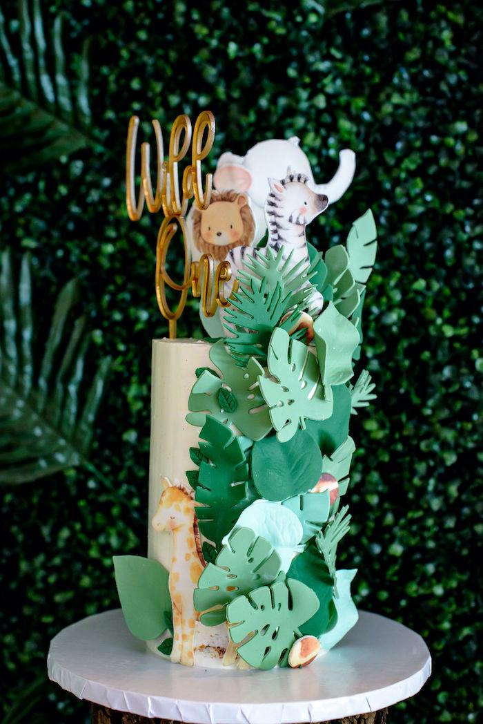 Safari Animal Cake from a Wild One Safari Birthday Party on Kara's Party Ideas | KarasPartyIdeas.com (17)