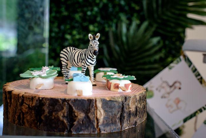Zebra-adorned Tree Stump Dessert Tray from a Wild One Safari Birthday Party on Kara's Party Ideas | KarasPartyIdeas.com (15)