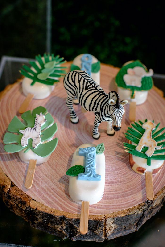 Safari-inspired Cakesicles from a Wild One Safari Birthday Party on Kara's Party Ideas | KarasPartyIdeas.com (13)