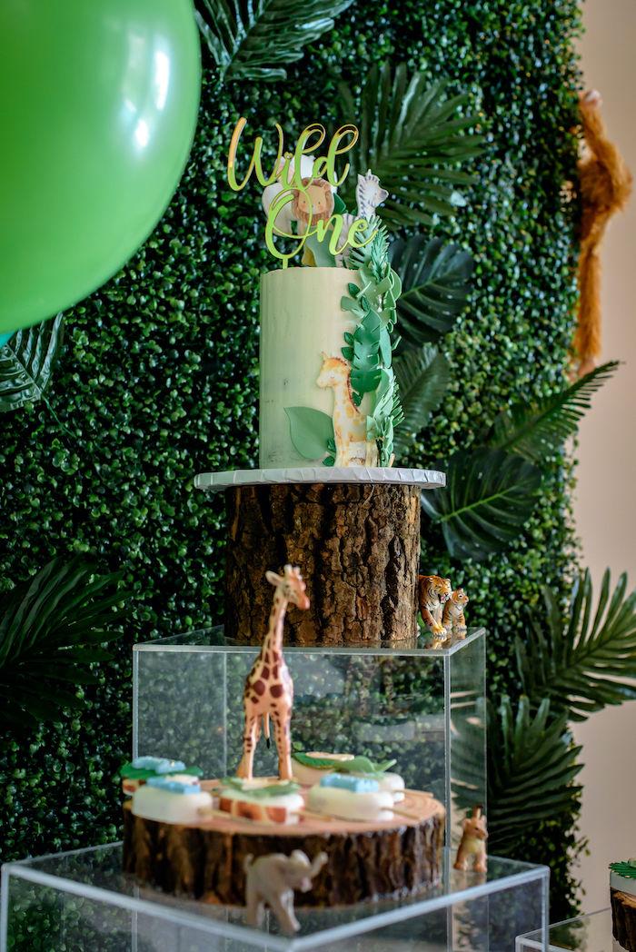 Cake + Dessert Pedestals from a Wild One Safari Birthday Party on Kara's Party Ideas | KarasPartyIdeas.com (9)