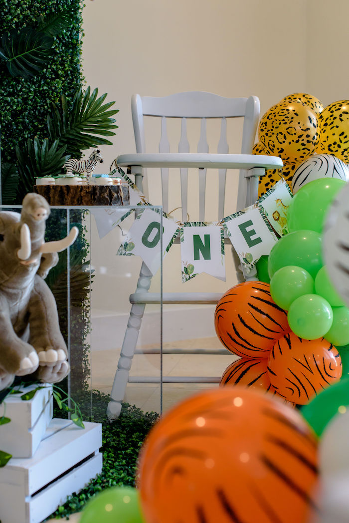 Safari High Chair Banner from a Wild One Safari Birthday Party on Kara's Party Ideas | KarasPartyIdeas.com (8)