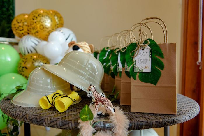 Jungle Leaf Favor Bags from a Wild One Safari Birthday Party on Kara's Party Ideas | KarasPartyIdeas.com (33)