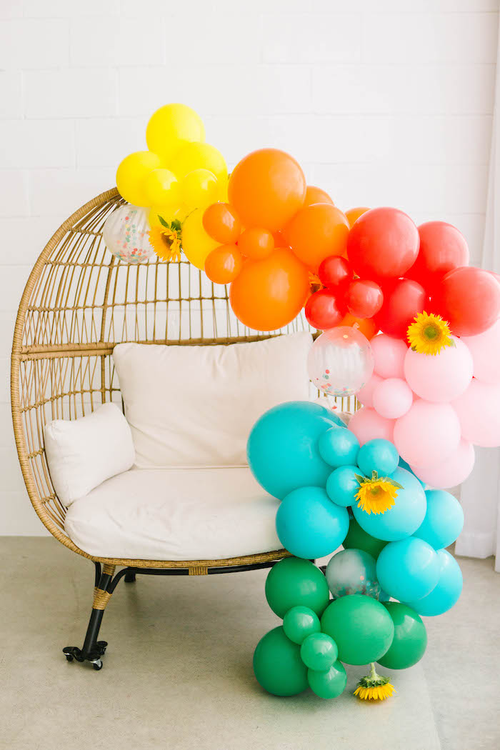 Sunflower Balloon Garland Chair from a Back to School Party on Kara's Party Ideas | KarasPartyIdeas.com (9)