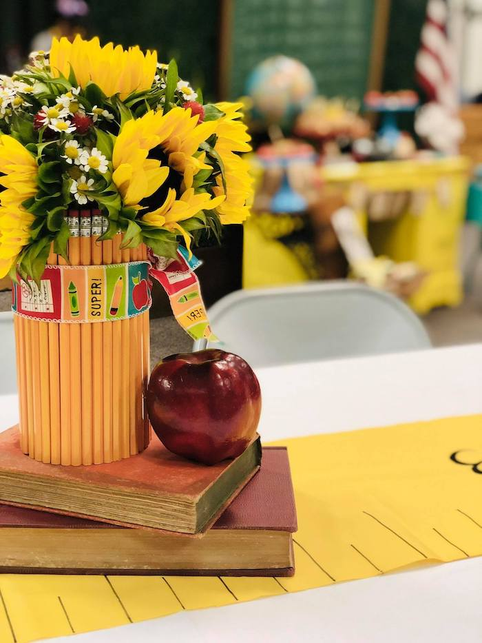 School-inspired Floral Table Centerpiece from a Back to School Teacher & Staff Luncheon on Kara's Party Ideas | KarasPartyIdeas.com (9)