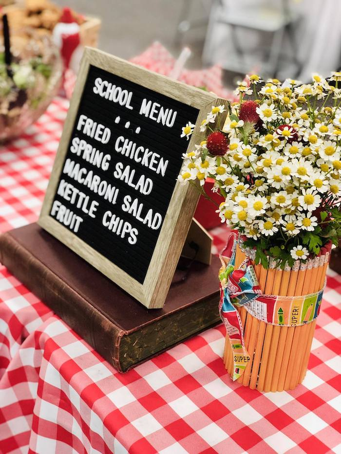 Letter Board Menu from a Back to School Teacher & Staff Luncheon on Kara's Party Ideas | KarasPartyIdeas.com (15)