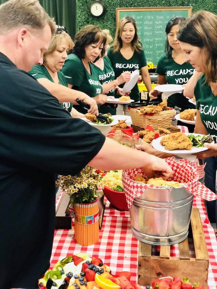 Buffet Table from a Back to School Teacher & Staff Luncheon on Kara's Party Ideas | KarasPartyIdeas.com (11)