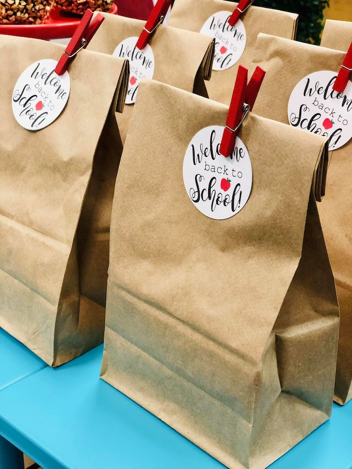 Brown Lunch Bag Favor Sacks from a Back to School Teacher & Staff Luncheon on Kara's Party Ideas | KarasPartyIdeas.com (10)
