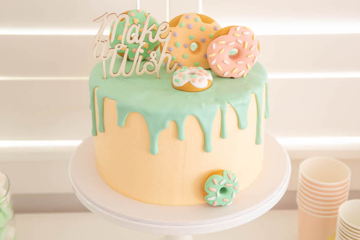 Donut Themed Cake from a DIY Peach & Mint Donut Party on Kara's Party Ideas | KarasPartyIdeas.com